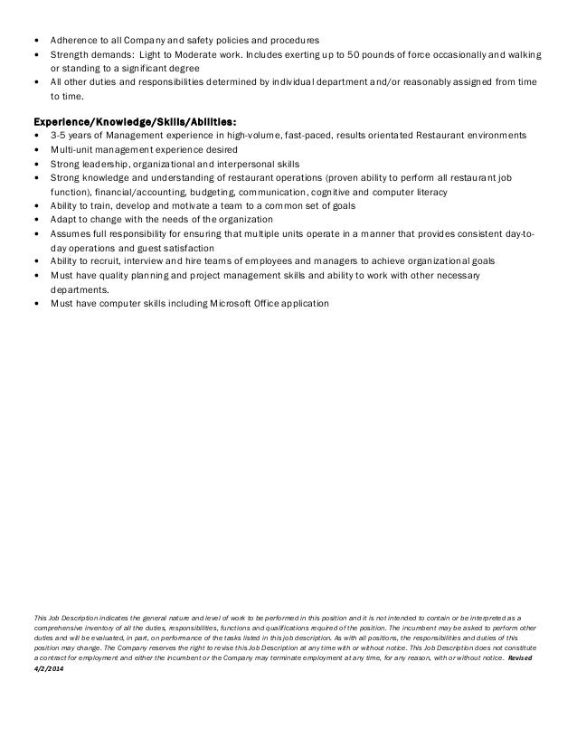 Job Description-Area Manager of Operations 4 2 2014