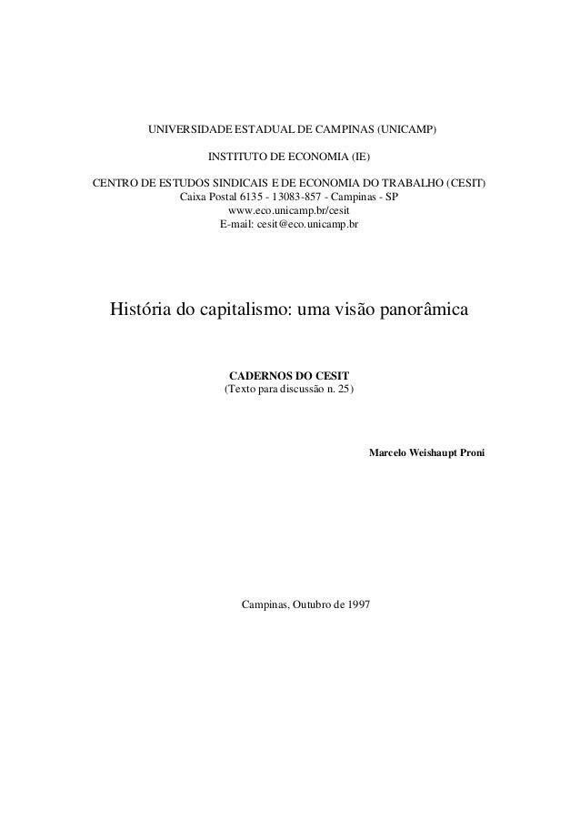UNIVERSIDADE ESTADUAL DE CAMPINAS (UNICAMP) INSTITUTO DE ECONOMIA (IE) CENTRO DE ESTUDOS SINDICAIS E DE ECONOMIA DO TRABAL...
