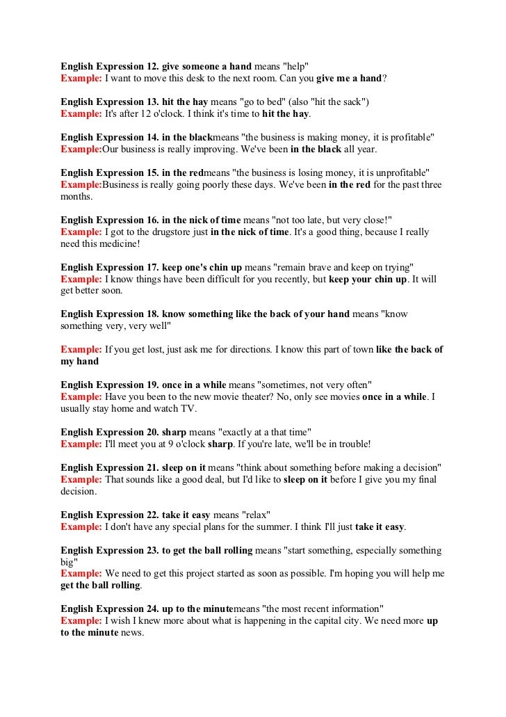 idioms and phrases with examples and meanings