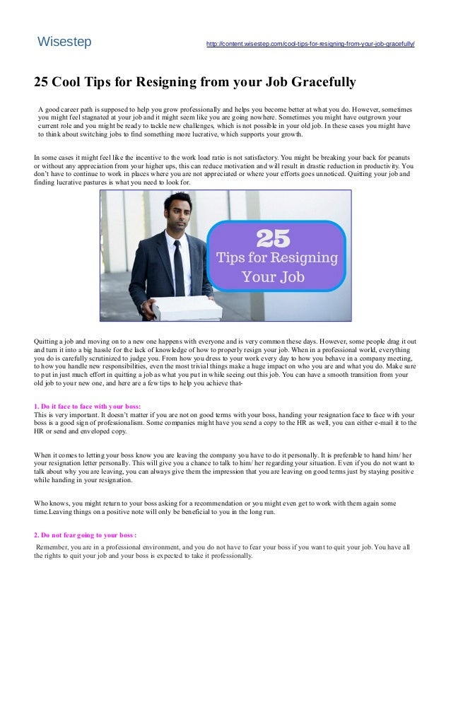 25 Cool #Tips For #Resigning From Your #Job Gracefully - #Wisestep
