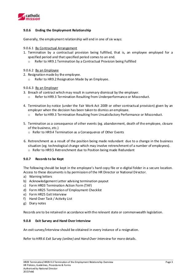 HR09 9 0 Termination Of The Employment Relationship Overview