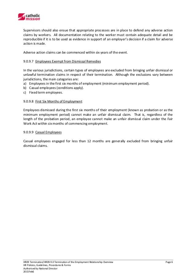 HR0990 Termination of the Employment Relationship Overview – Termination of Employment