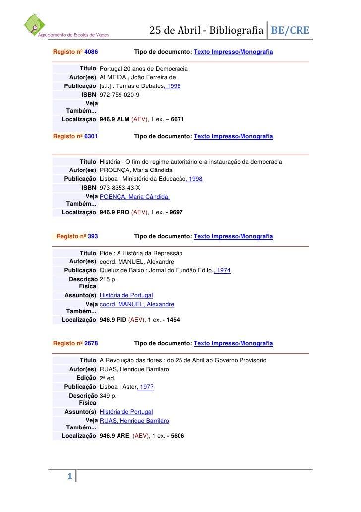 25 de Abril - Bibliografia BE/CRE Registo nº 4086             Tipo de documento: Texto Impresso/Monografia          Título...