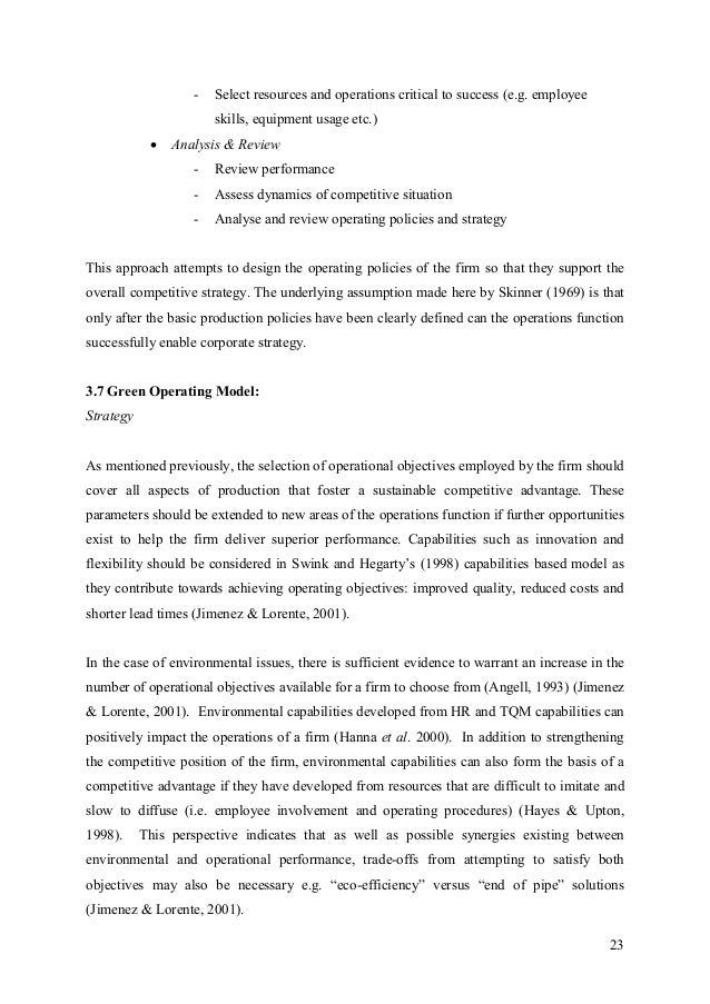 dissertation on operational effectiveness Many this thesis provides a background on ports operational efficiency through  automation, and customer satisfaction and discusses a case study used to.