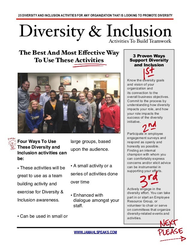 25 DIVERSITY AND INCLUSION ACTIVITIES FOR ANY ORGANIZATION THAT IS LOOKING TO PROMOTE DIVERSITY WWW.JAMAHLSPEAKS.COM The B...