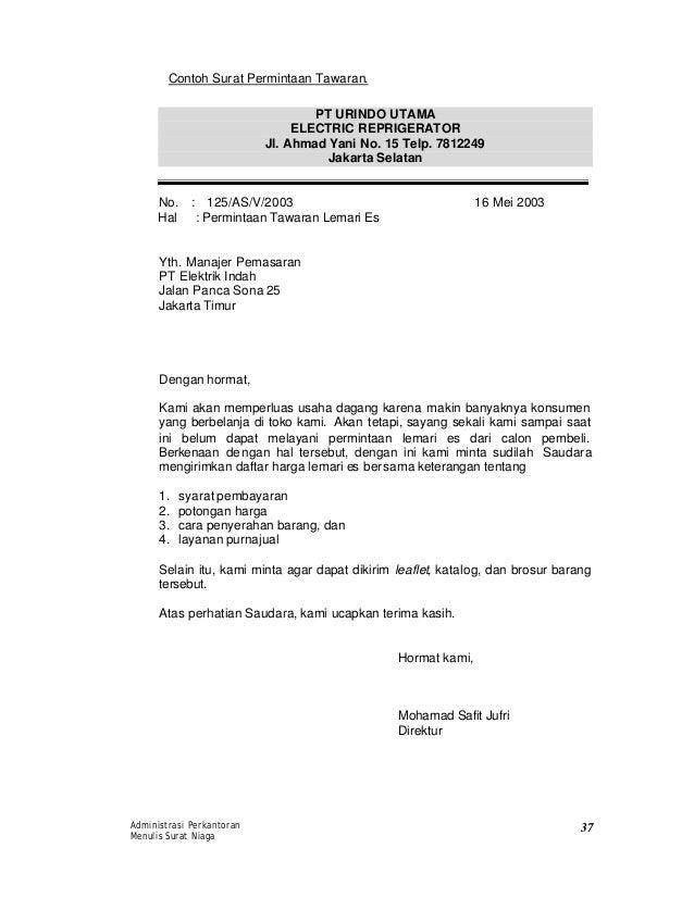 contoh surat niaga penawaran contoh cari
