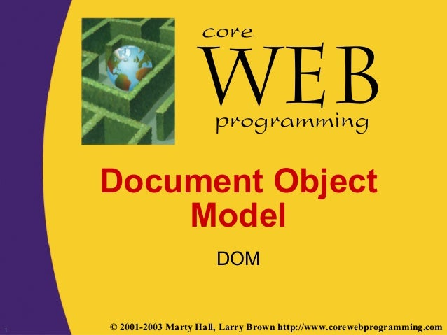 1 © 2001-2003 Marty Hall, Larry Brown http://www.corewebprogramming.com core programming Document Object Model DOM