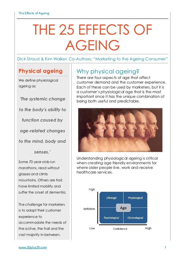 The Effects of Ageing Why physical ageing? There are four aspects of age that affect customer demand and the customer expe...