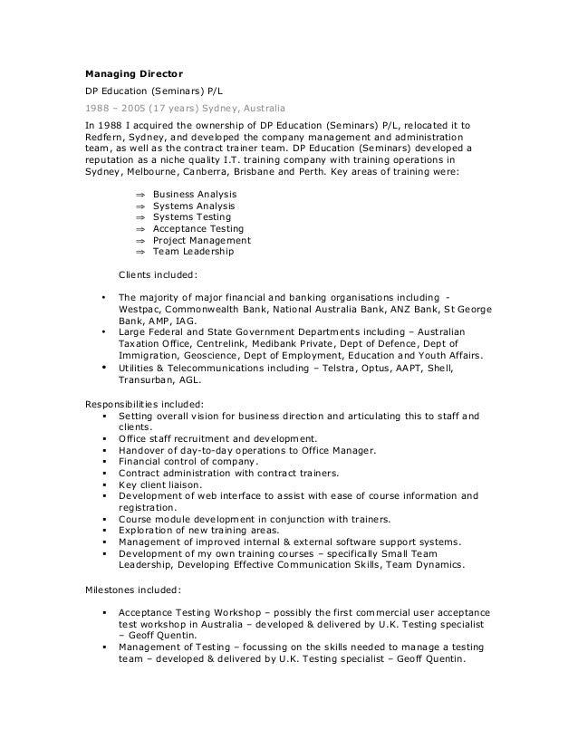 mdavie resume test manager jan 15