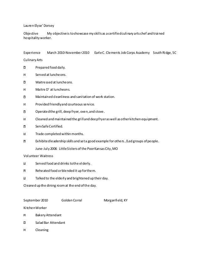 lauren s culinary resume