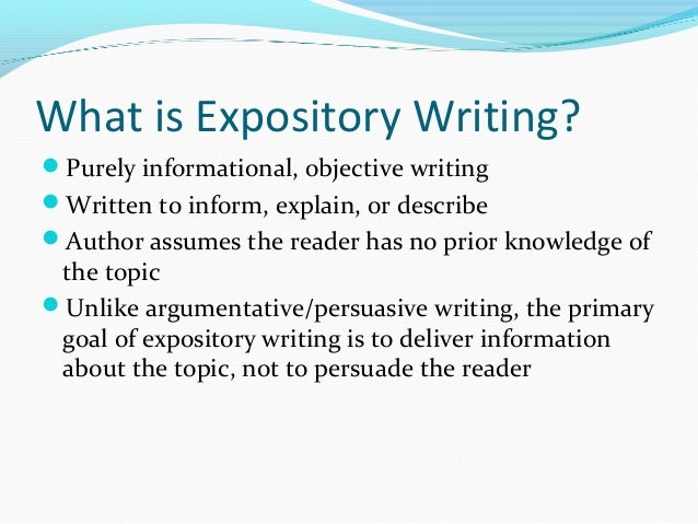 Expository Writing; 2.