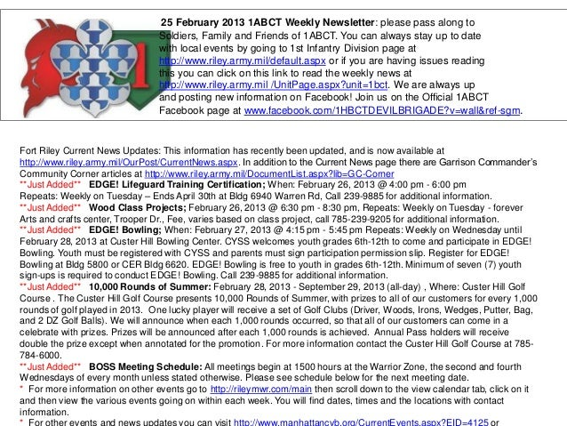 25 February 2013 1ABCT Weekly Newsletter: please pass along to                                 Soldiers, Family and Friend...