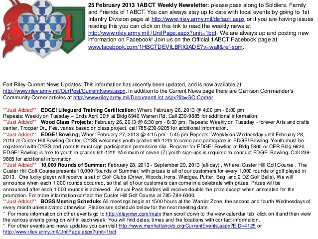 25 February 2013 1ABCT Weekly Newsletter: please pass along to Soldiers, Family                                      and F...