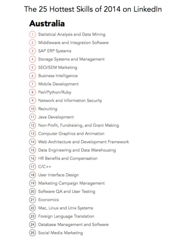 The 25 Hottest Skills of 2014 on Linkedln  Australia  ® Statistical Analysis and Data Mining  @ Middleware and Integration...