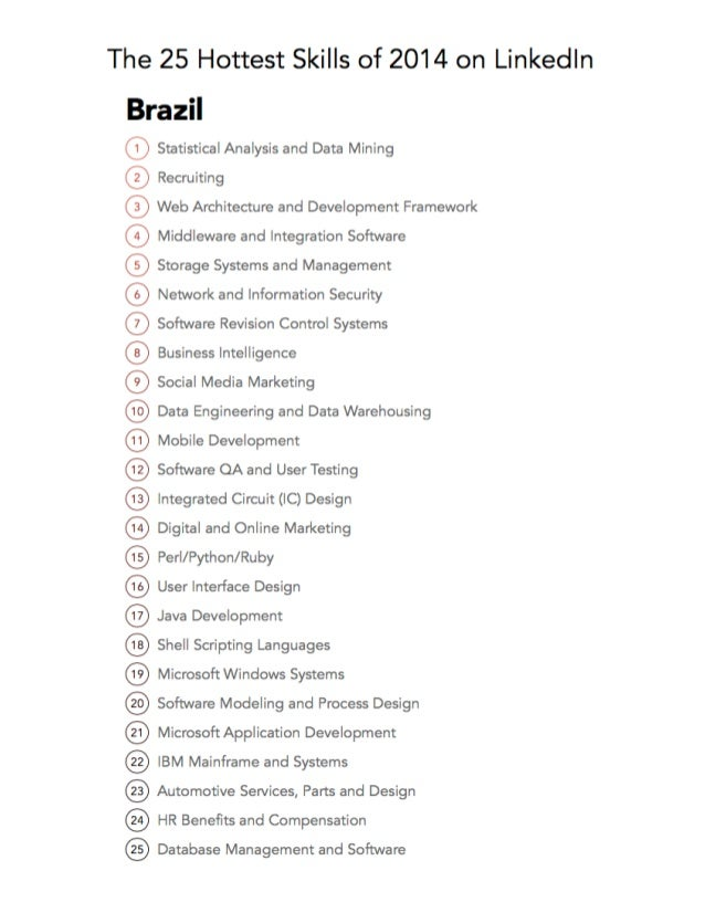 The 25 Hottest Skills of 2014 on Linkedin Slide 2