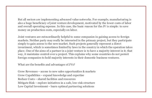 """the reasons for instability within international joint ventures """"deciding to go international"""" asim khan, ceo business management group, inc one option is to establish a joint venture."""
