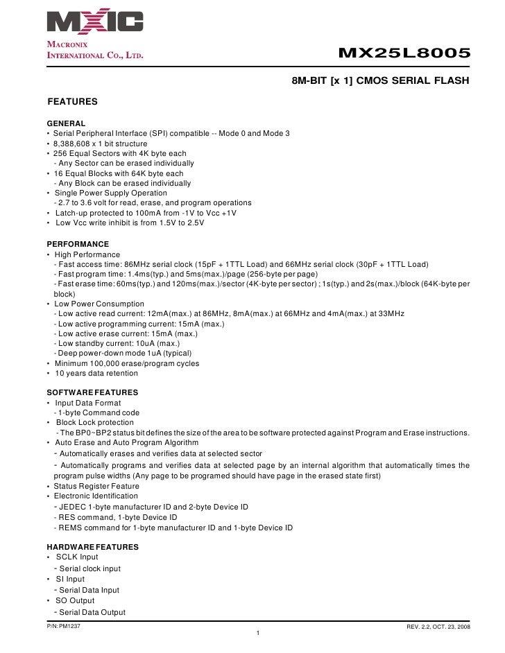 MX25L8005                                                                      8M-BIT [x 1] CMOS SERIAL FLASHFEATURESGENER...