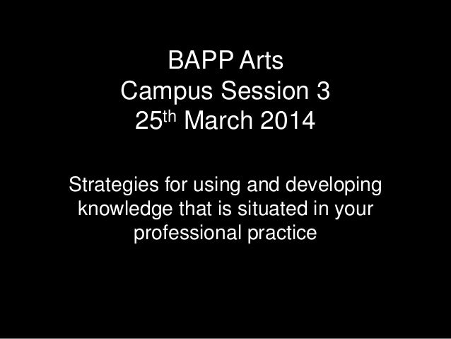 BAPP Arts Campus Session 3 25th March 2014 Strategies for using and developing knowledge that is situated in your professi...