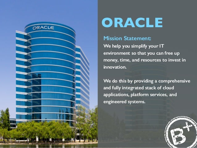 Oracle Mission Statement: We Help