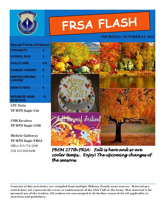 FRSA FLASH                                                                THURSDAY, OCTOBER 25, 2012Special Points of Inte...