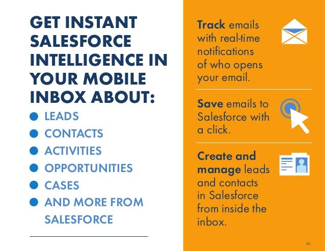 GET INSTANT  SALESFORCE  INTELLIGENCE IN  YOUR MOBILE  INBOX ABOUT:  LEADS  CONTACTS  ACTIVITIES  OPPORTUNITIES  CASES  AN...