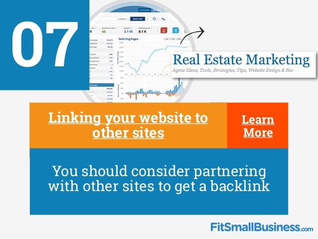 Learn More Learn More 07 ∂ Linking your website to other sites ∂ You should consider partnering with other sites to get a ...