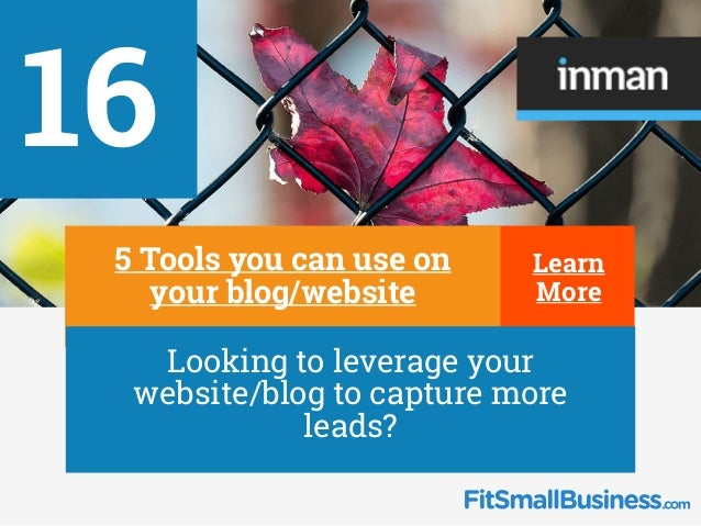 16 ∂ 5 Tools you can use on your blog/website ∂ Looking to leverage your website/blog to capture more leads? Learn More