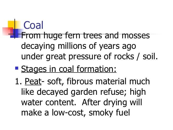 Coal <ul><li>From huge fern trees and mosses decaying millions of years ago under great pressure of rocks / soil. </li></u...