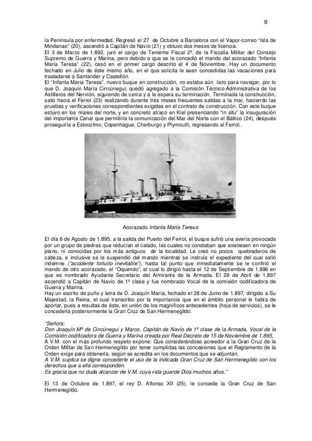 """8  la Península por enfermedad. Regresó el 27 de Octubre a Barcelona con el Vapor-correo """"Isla de Mindanao"""" (20), ascendió..."""