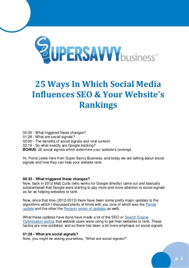 25 Ways In Which Social Media Influences SEO & Your Website's Rankings 00:35 - What triggered these changes? 01:28 - What ...