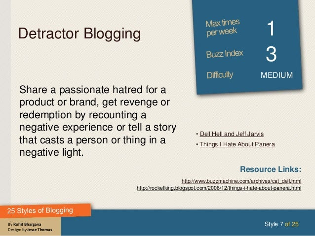 By Rohit Bhargava Design: by Jesse Thomas Detractor Blogging 1 3 MEDIUM Share a passionate hatred for a product or brand, ...