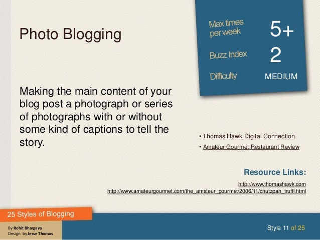 By Rohit Bhargava Design: by Jesse Thomas Photo Blogging 5+ 2 MEDIUM Making the main content of your blog post a photograp...