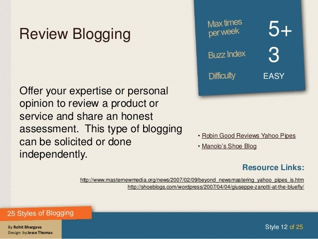 By Rohit Bhargava Design: by Jesse Thomas Review Blogging 5+ 3 EASY Offer your expertise or personal opinion to review a p...