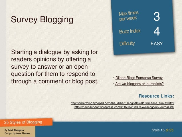 By Rohit Bhargava Design: by Jesse Thomas Survey Blogging 3 4 EASY Starting a dialogue by asking for readers opinions by o...