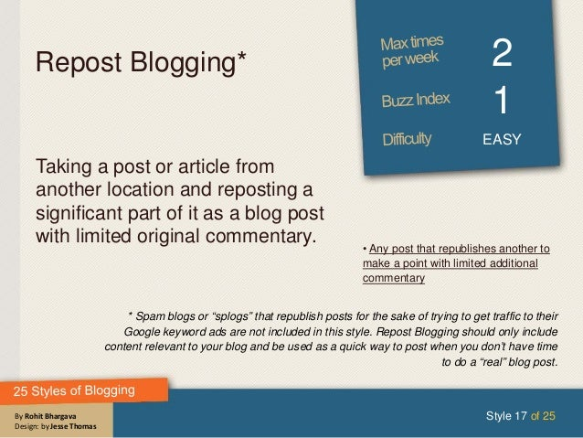 By Rohit Bhargava Design: by Jesse Thomas Repost Blogging* 2 1 EASY Taking a post or article from another location and rep...