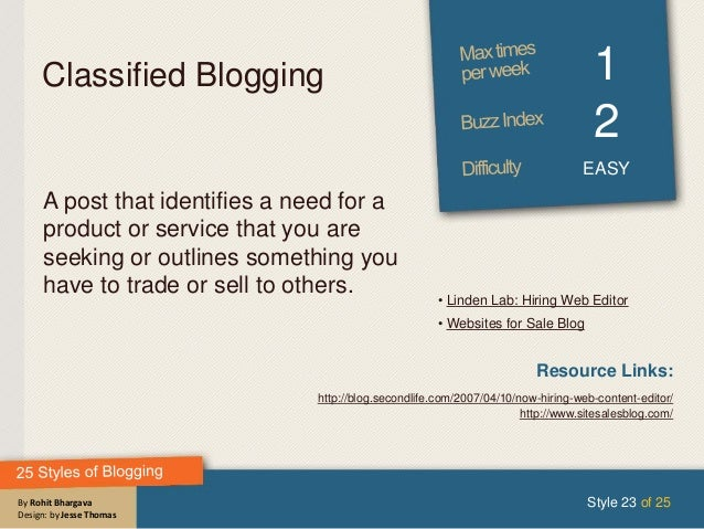 By Rohit Bhargava Design: by Jesse Thomas Classified Blogging 1 2 EASY A post that identifies a need for a product or serv...