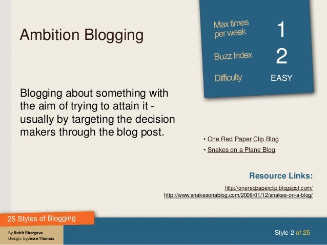 By Rohit Bhargava Design: by Jesse Thomas Ambition Blogging 1 2 EASY Blogging about something with the aim of trying to at...