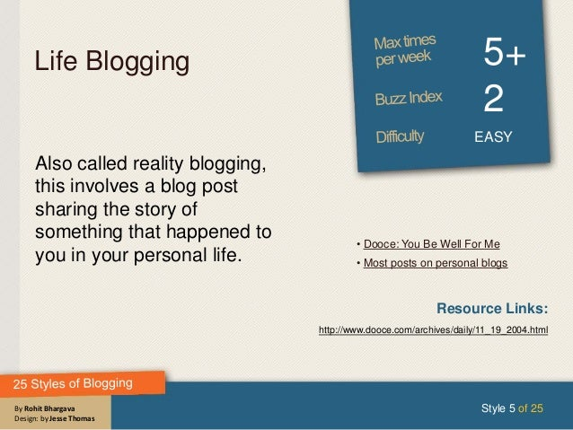 By Rohit Bhargava Design: by Jesse Thomas Life Blogging 5+ 2 EASY Also called reality blogging, this involves a blog post ...