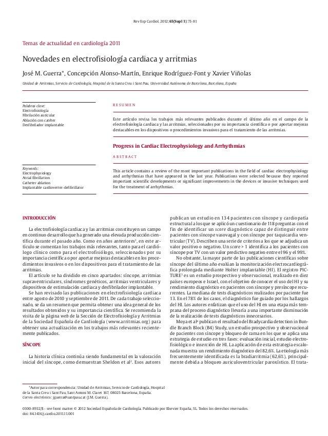 Rev Esp Cardiol. 2012;65(Supl 1):73-81 0300-8932/$ - see front matter © 2012 Sociedad Española de Cardiología. Publicado p...