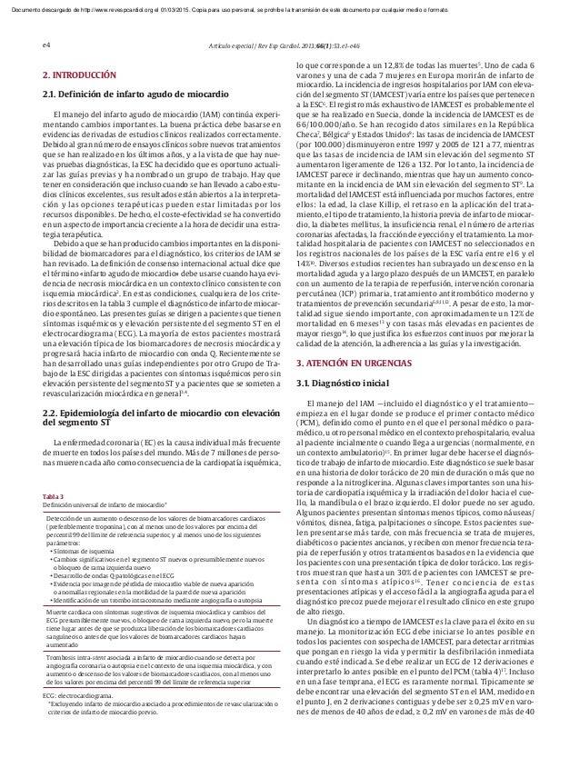 Manejo del infarto agudo del miocardio en urgencias pdf