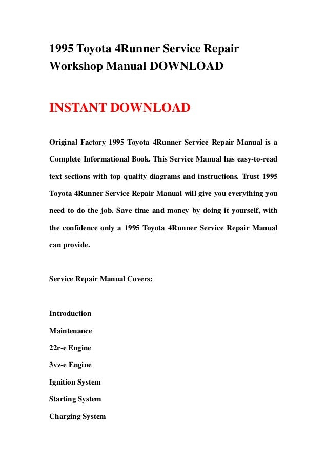 1995 toyota 4runner service repair workshop manual download rh slideshare net 1995 4runner repair manual pdf 1995 toyota 4runner repair manual free