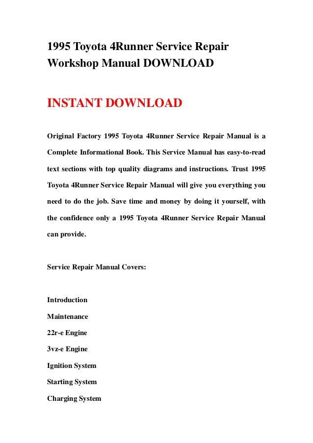 Toyota 4runner 1990 1995 service repair manual | anckelesun.