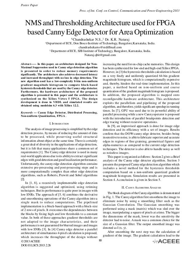 Poster Paper Proc. of Int. Conf. on Control, Communication and Power Engineering 2013  NMS and Thresholding Architecture u...