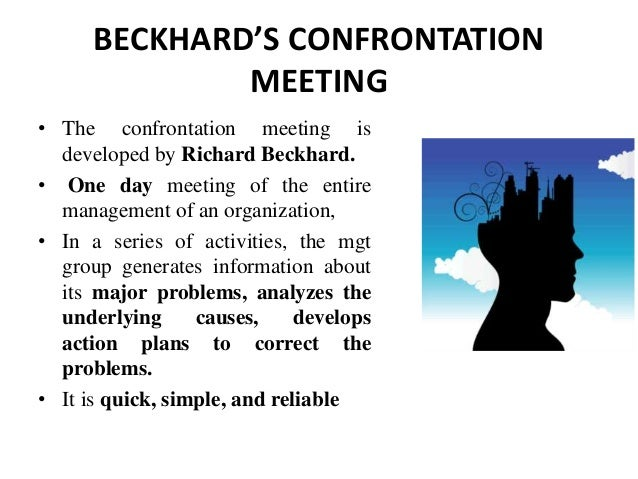 organization confrontation meeting Confrontation meeting he confrontation meeting is an intervention designed to mobilize the resources of the entire organization to identify problems, set priorities and action.