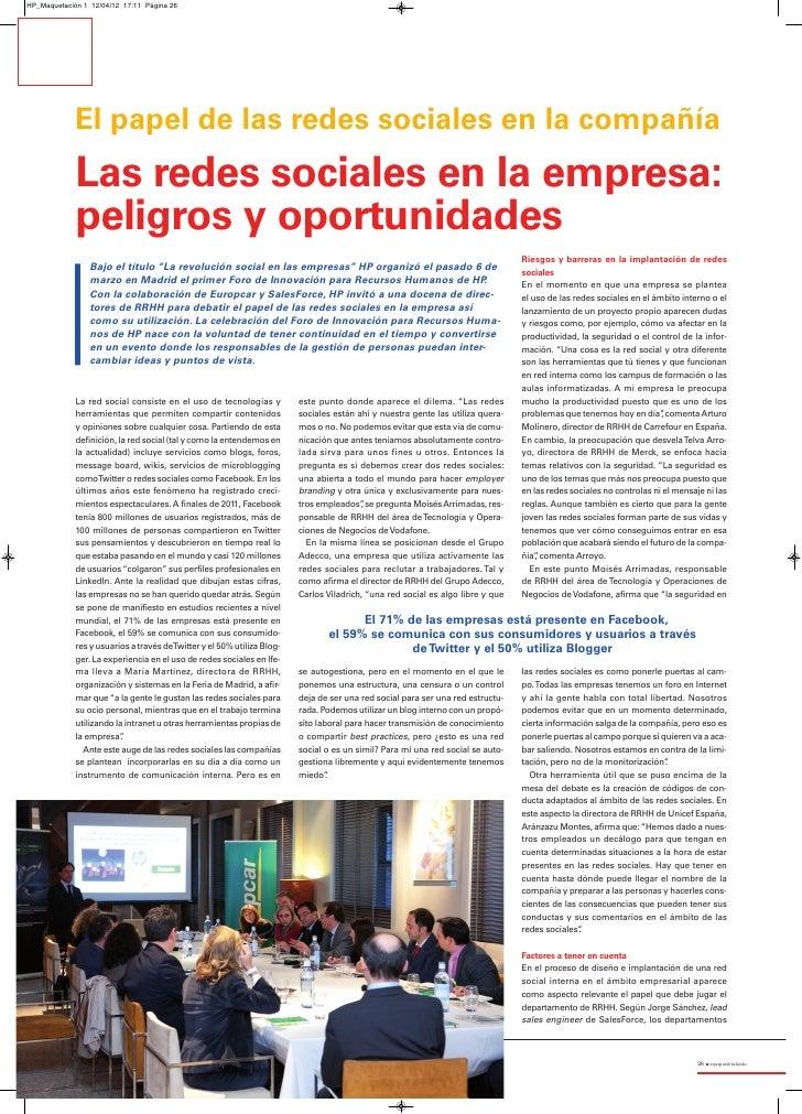 HP_Maquetación 1 12/04/12 17:11 Página 26             El papel de las redes sociales en la compañía             Las redes ...