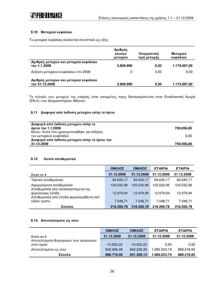 Ετήσιες οικονομικές καταστάσεις της χρήσης 1.1 – 31.12.2009    9.10 Μετοχικό κεφάλαιο  Το μετοχικό κεφάλαιο αναλύεται συνο...