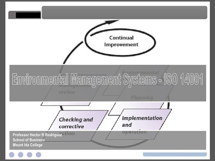 Environmental Management Systems - ISO 14001 Environmental Management Systems - ISO 14001 Professor Hector R Rodriguez Sch...