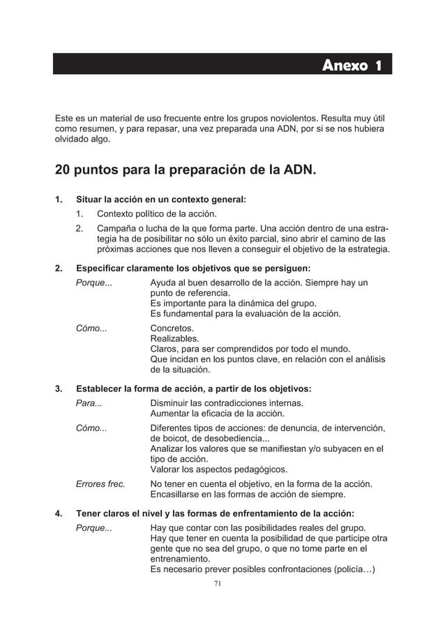 26.  como realizar una accion no violenta y no sucumbir en el intento. guía práctica