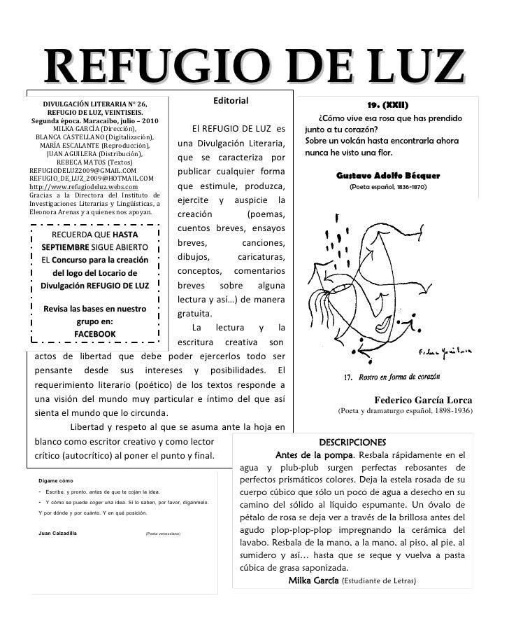 REFUGIO DE LUZ                                                        Editorial    DIVULGACIÓN LITERARIA N° 26,           ...