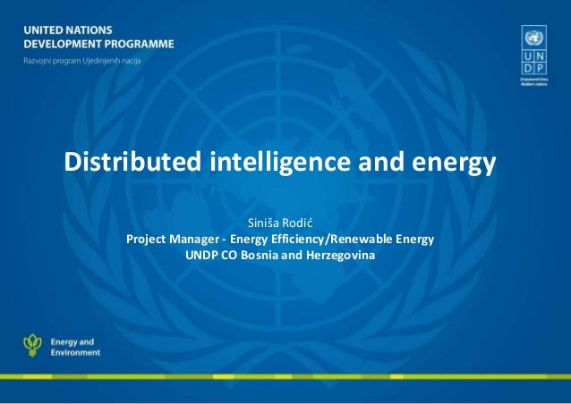 Distributed intelligence and energy Siniša Rodić Project Manager - Energy Efficiency/Renewable Energy UNDP CO Bosnia and H...